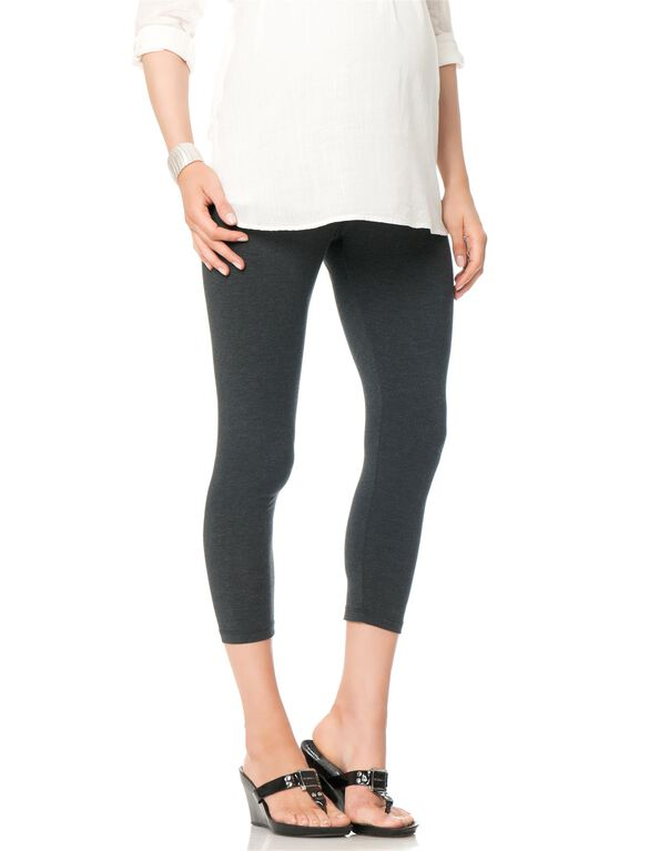 Luxe Essentials Secret Fit Belly Maternity Crop Leggings, Charcoal