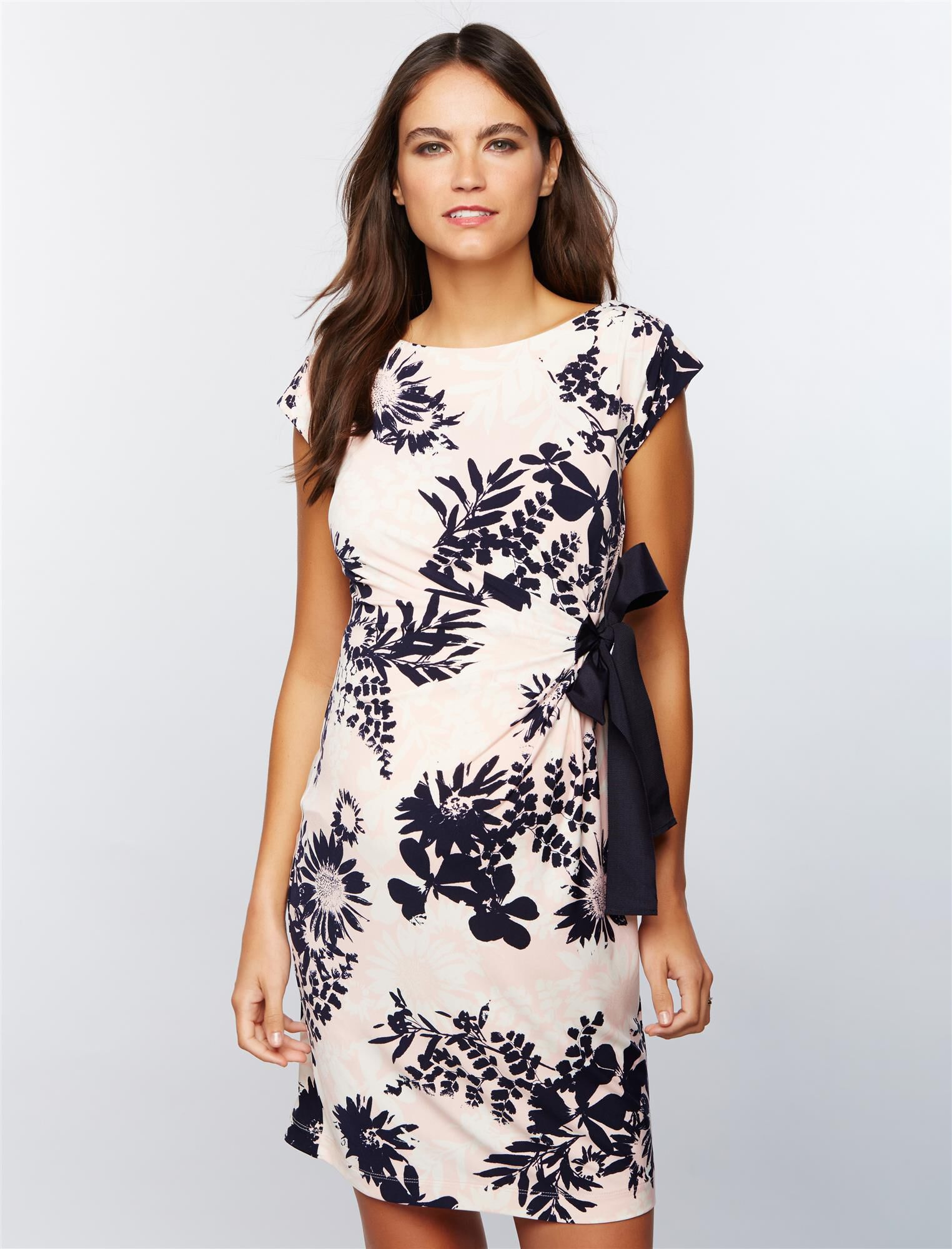 Taylor Side Tie Maternity Dress- Pink/White Floral