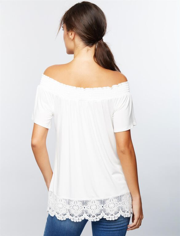Luxe Essentials Denim Off The Shoulder Maternity Top, Soft White