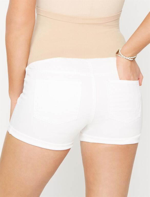 Luxe Essentials Denim Secret Fit Belly Cuffed Maternity Shorts- White, White