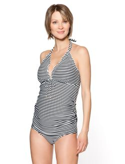 Side Ruched Maternity Tankini Swimsuit, Striped