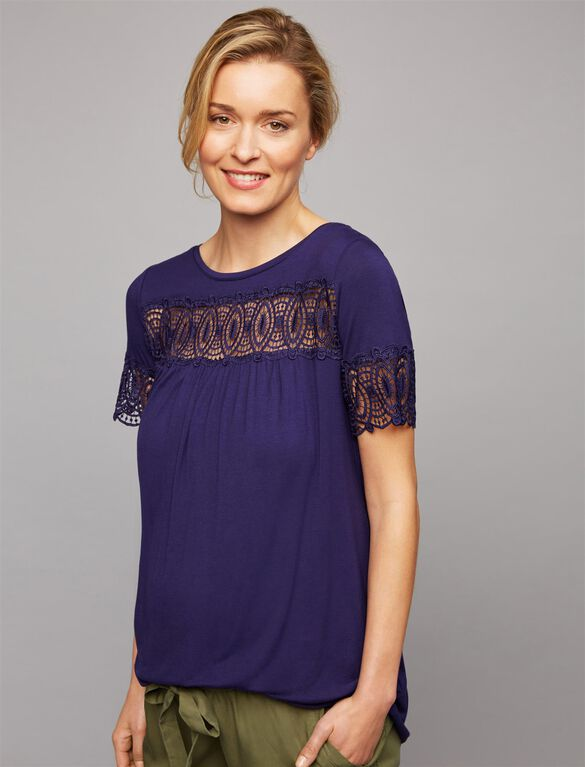 Embroidered Lace Trim Maternity Tee, STARLESS NIGHT