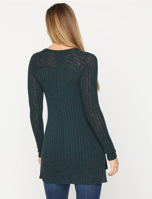 Raglan Sleeve Maternity Tunic, Green/Black Marl