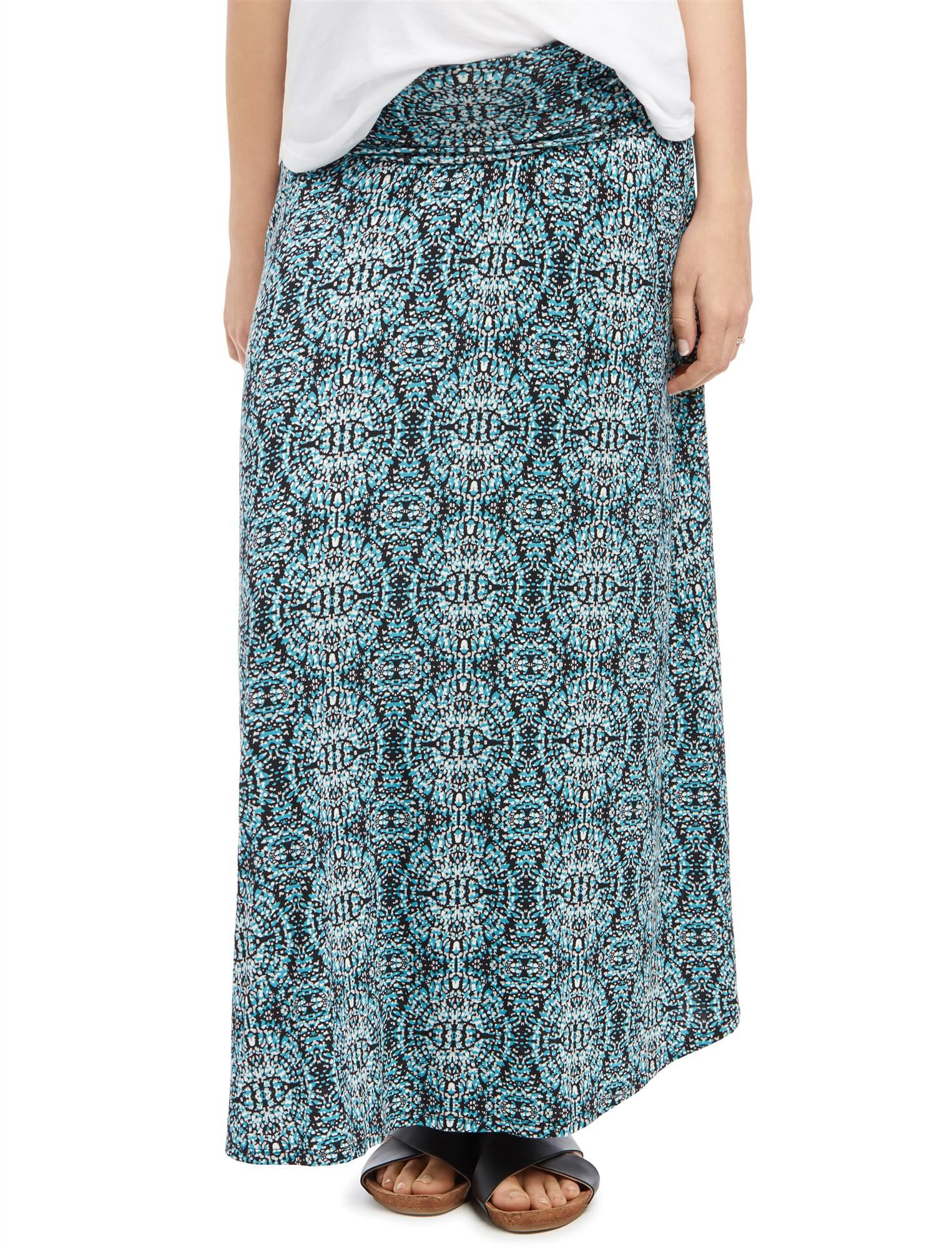 Fold Over Belly Printed Maternity Skirt- Paisley
