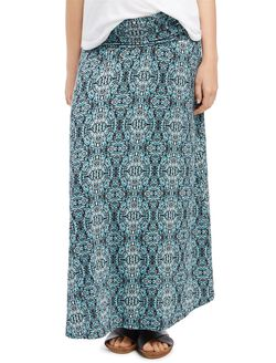 Fold Over Belly Printed Maternity Skirt- Paisley, Paisley Print