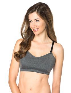 Sports Clip Down Nursing Bra, Heather Grey