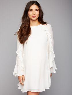 Nicole Miller Ruffled Bell Sleeve Maternity Dress, Creame