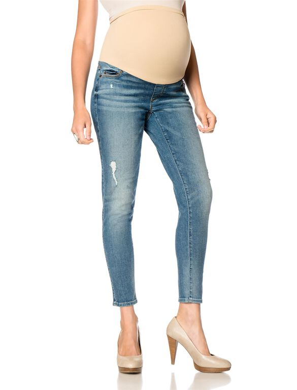 A Pea In The Pod Jeans Secret Fit Belly Skinny Leg Maternity Crop Jeans, Medium Wash