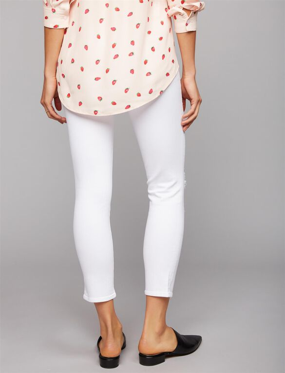 J Brand Under Belly Skinny Maternity Jeans- White, White Denim