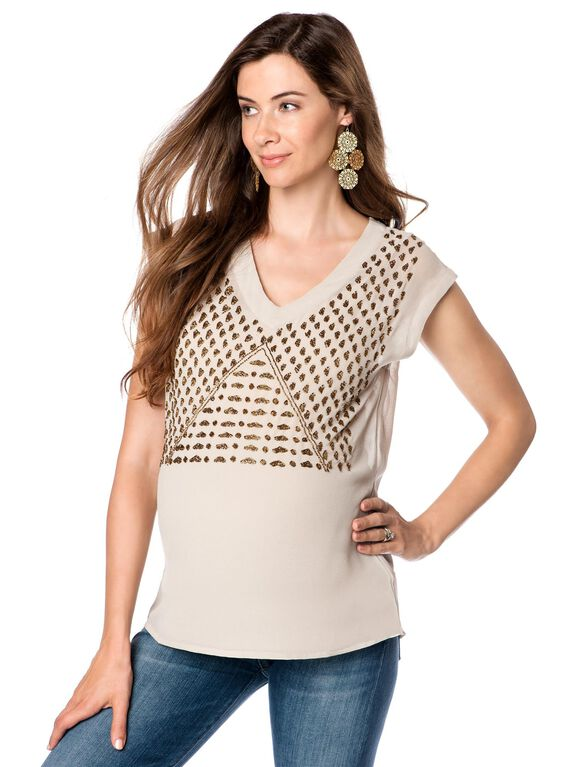 Willow&clay Embellished Maternity Blouse, Nude With Gold Beads
