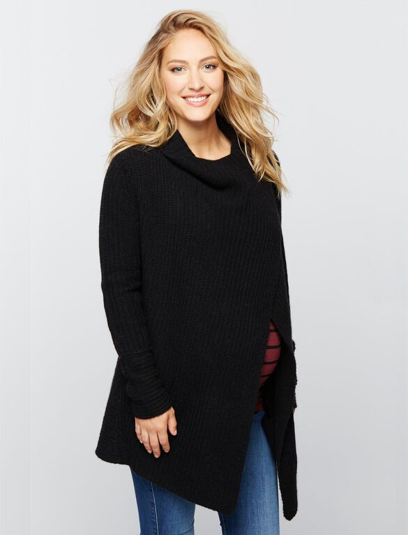 360 Cashmere Super Soft Maternity Cardigan, Black