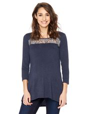 Lace Detail Maternity Top, Blue Chambray