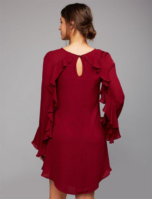 Nicole Miller Ruffled Bell Sleeve Maternity Dress, Oxblood