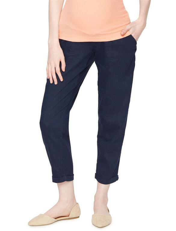 Secret Fit Belly Linen Slim Leg Maternity Crop Pant, Navy