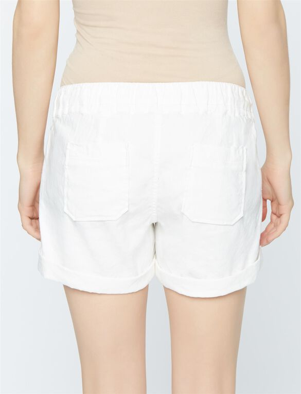 Under Belly Linen Maternity Shorts, Ivory