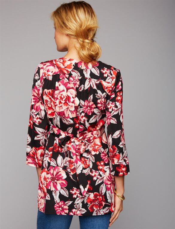 Tie Back Floral Maternity Tunic, Red Floral Print