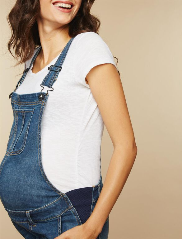Side Panel Fray Hem Maternity Overalls, Medium Wash