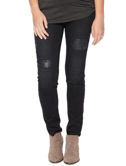 Secret Fit Belly Skinny Leg Maternity Pants, Black Destruction