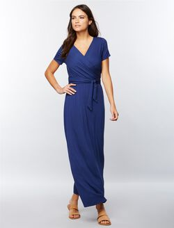 Wrap Front Nursing Maxi Dress- Deep Water, Deep Water