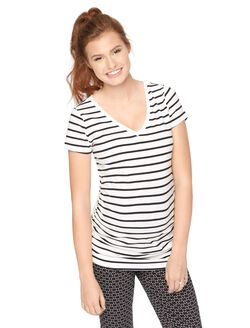 V-neck Side Ruched Maternity Tee, Blk/White Stripe