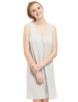 Bump In The Night Relaxed Fit Nursing Nightgown, Grey Stripe