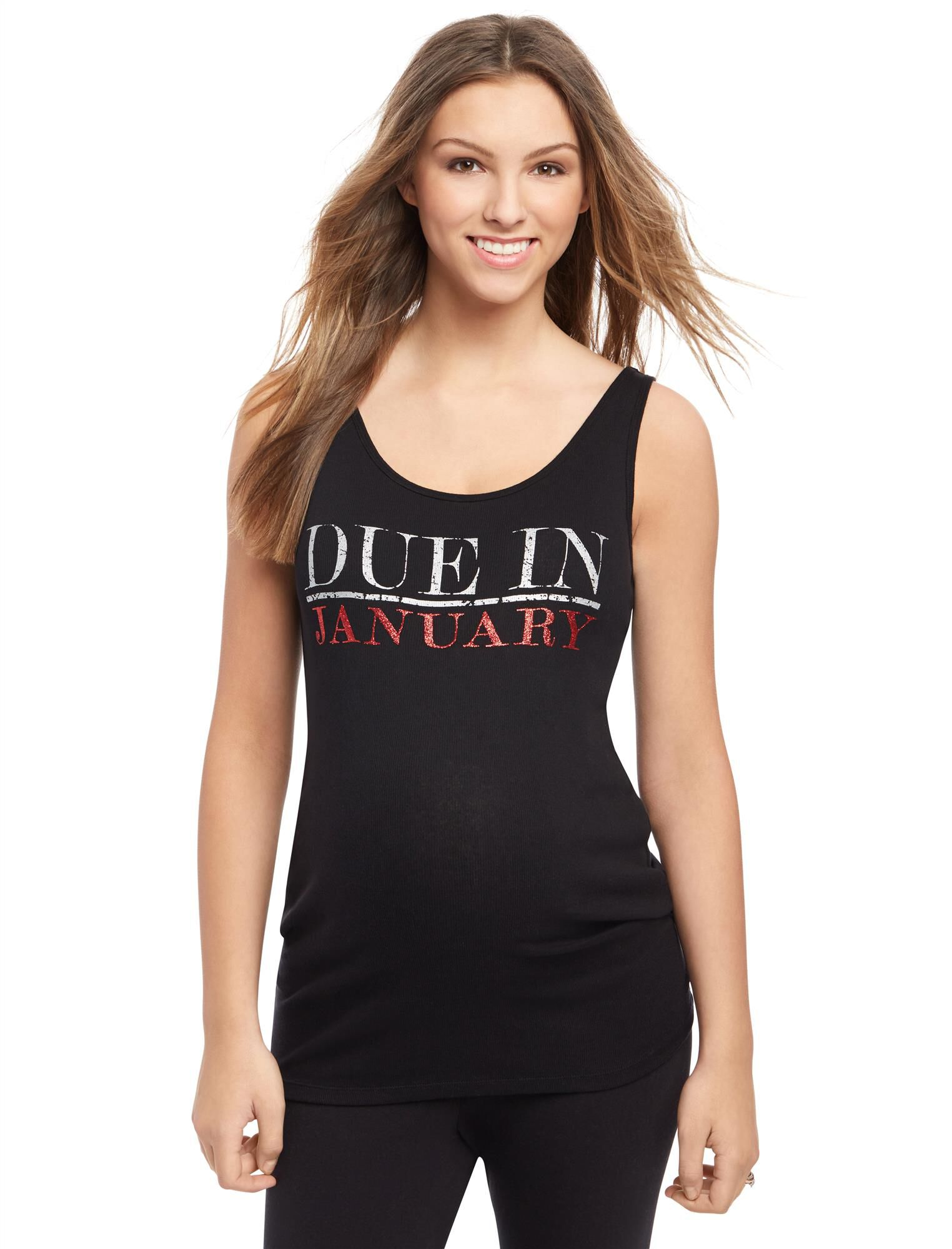 Due in January Maternity Graphic Tank Top