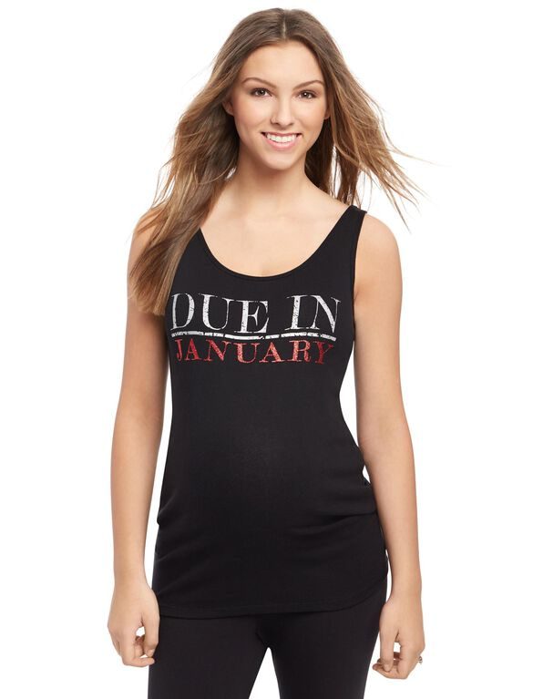 Due in January Maternity Graphic Tank Top, Garnet Glitter