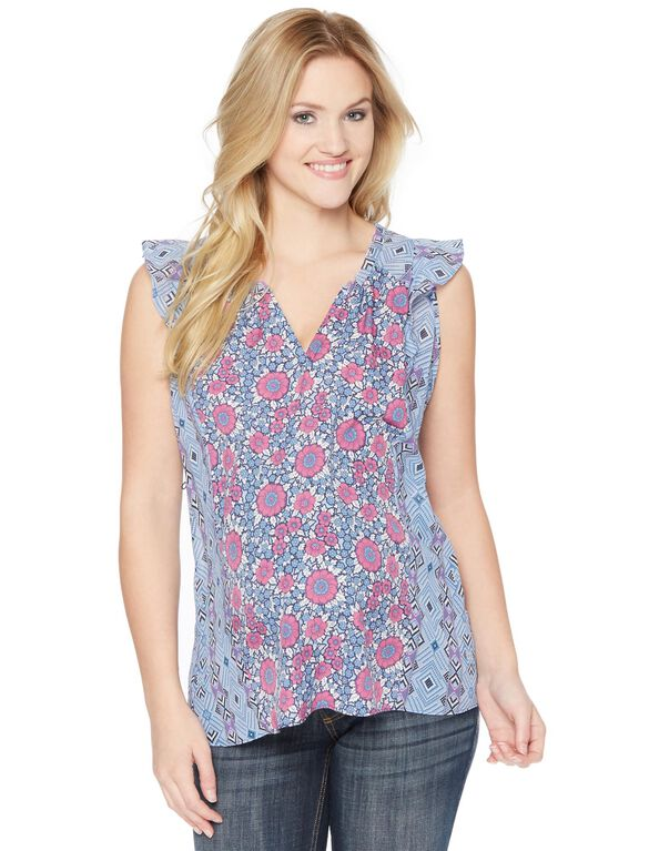 Floral Flutter Sleeve Maternity Blouse, Blue Print
