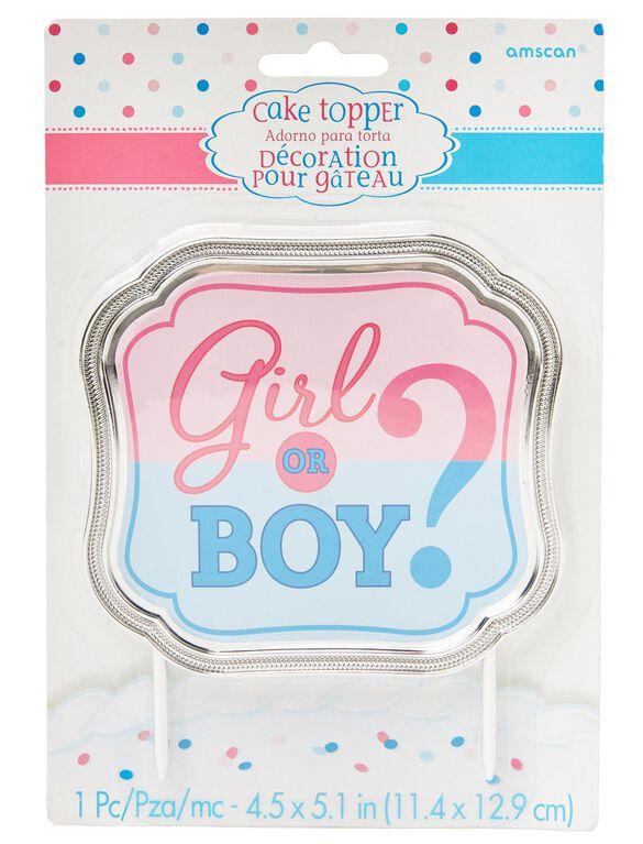 Girl or Boy Gender Reveal Cake Topper, Pink/Blue
