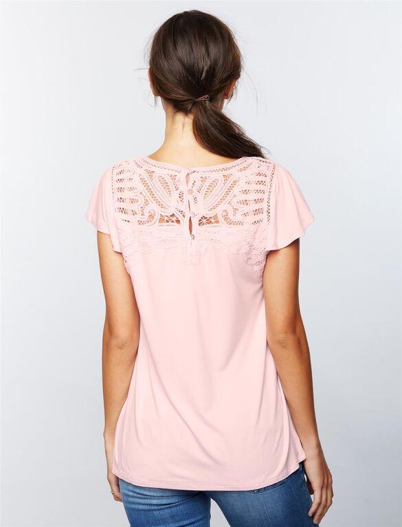 Daniel Rainn Lace Trim Maternity Shirt, Lilac