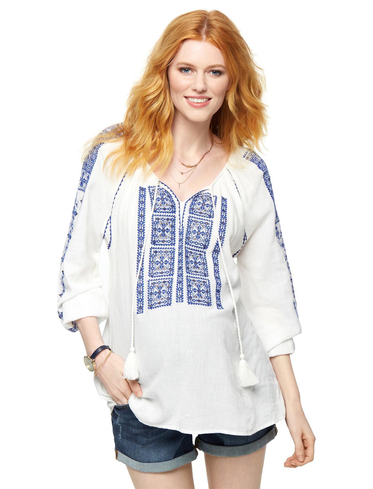 Split Neckline Embroidered Maternity Blouse- White