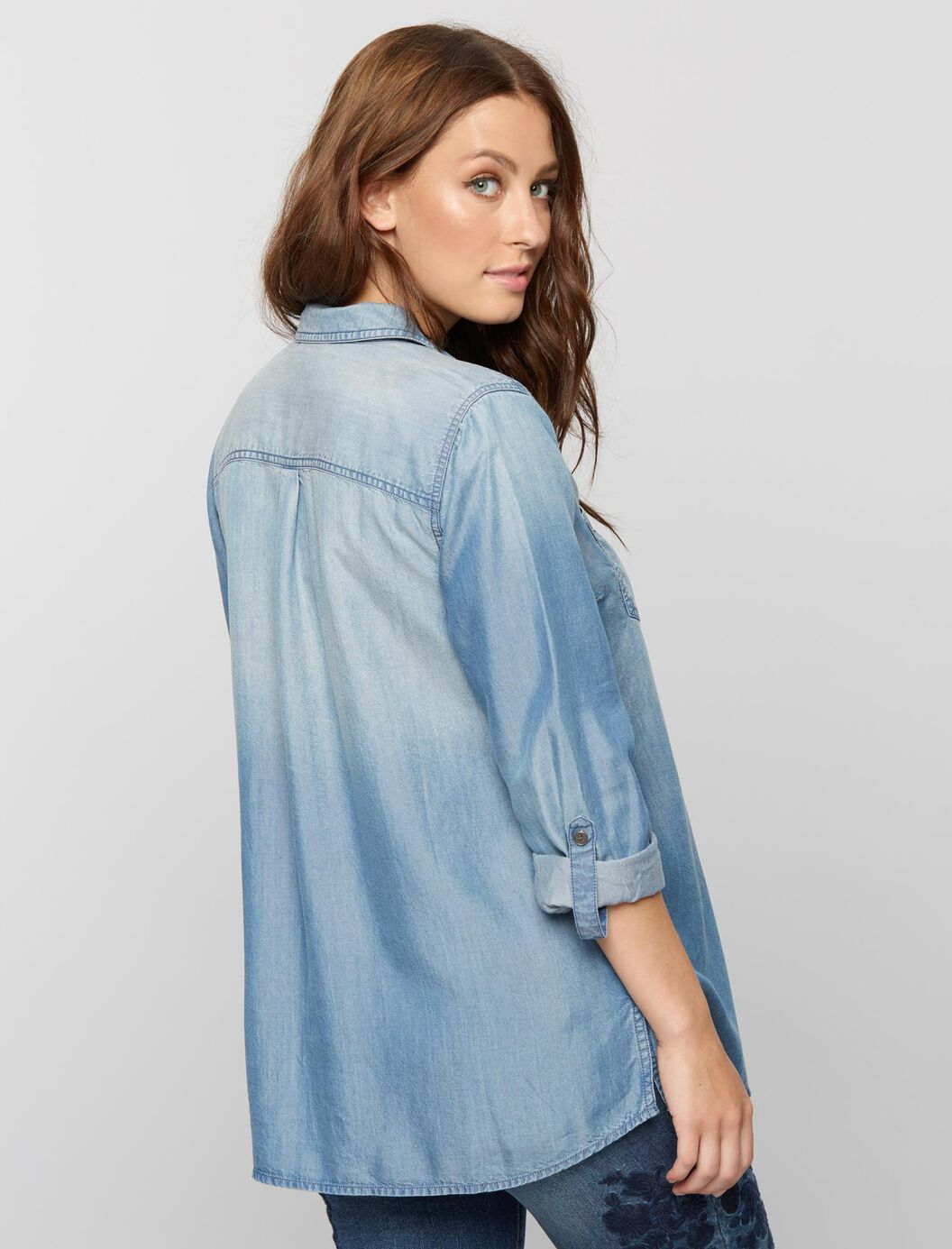 Luxe Essentials Denim Button Front Maternity Shirt
