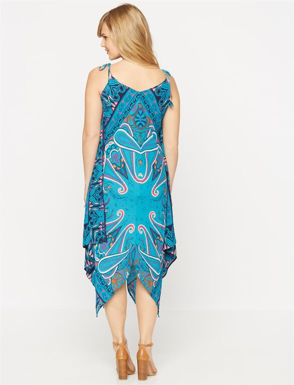 Spaghetti Strap High-low Maternity Maxi Dress, Multi Print