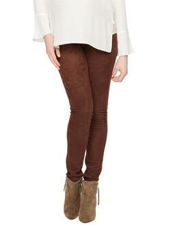 Secret Fit Belly Faux Suede Maternity Legging, Brown