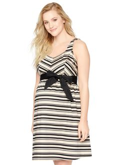 Bow Detail Maternity Dress- Stripe, Tan/Black Stripe