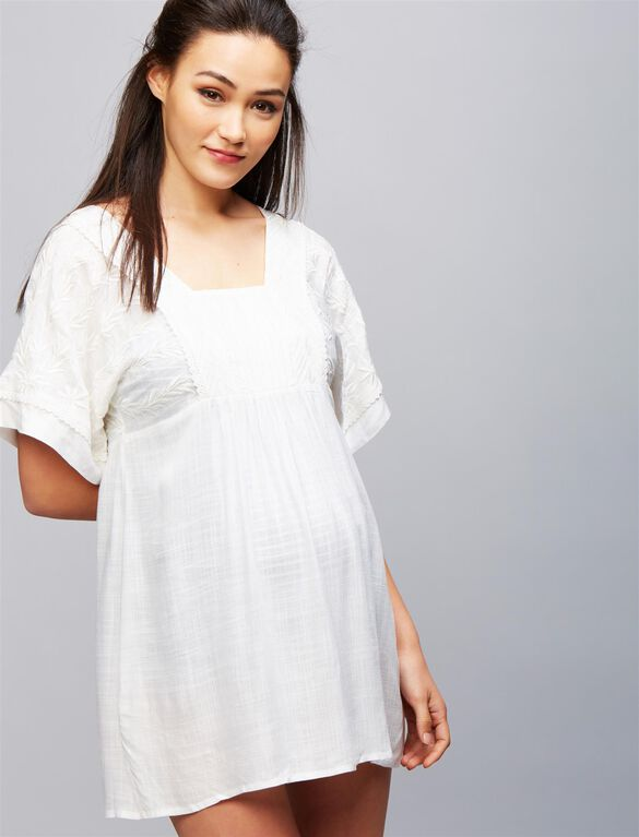 Lace Trim Maternity Swim Cover-up, Soft White