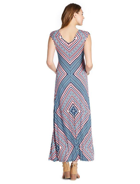 Jessica Simpson Tie Detail Maternity Maxi Dress, Coral/Navy Print