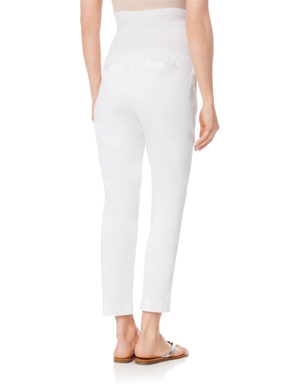 Secret Fit Belly Sateen Slim Leg Maternity Pants, White