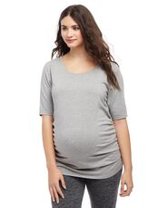 Plus Size Side Ruched Maternity Tee- Heather Grey, Heather Grey