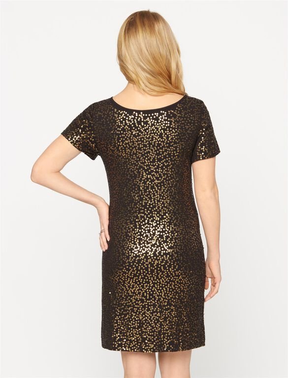 Seraphine Maternity Dress, Black/Gold
