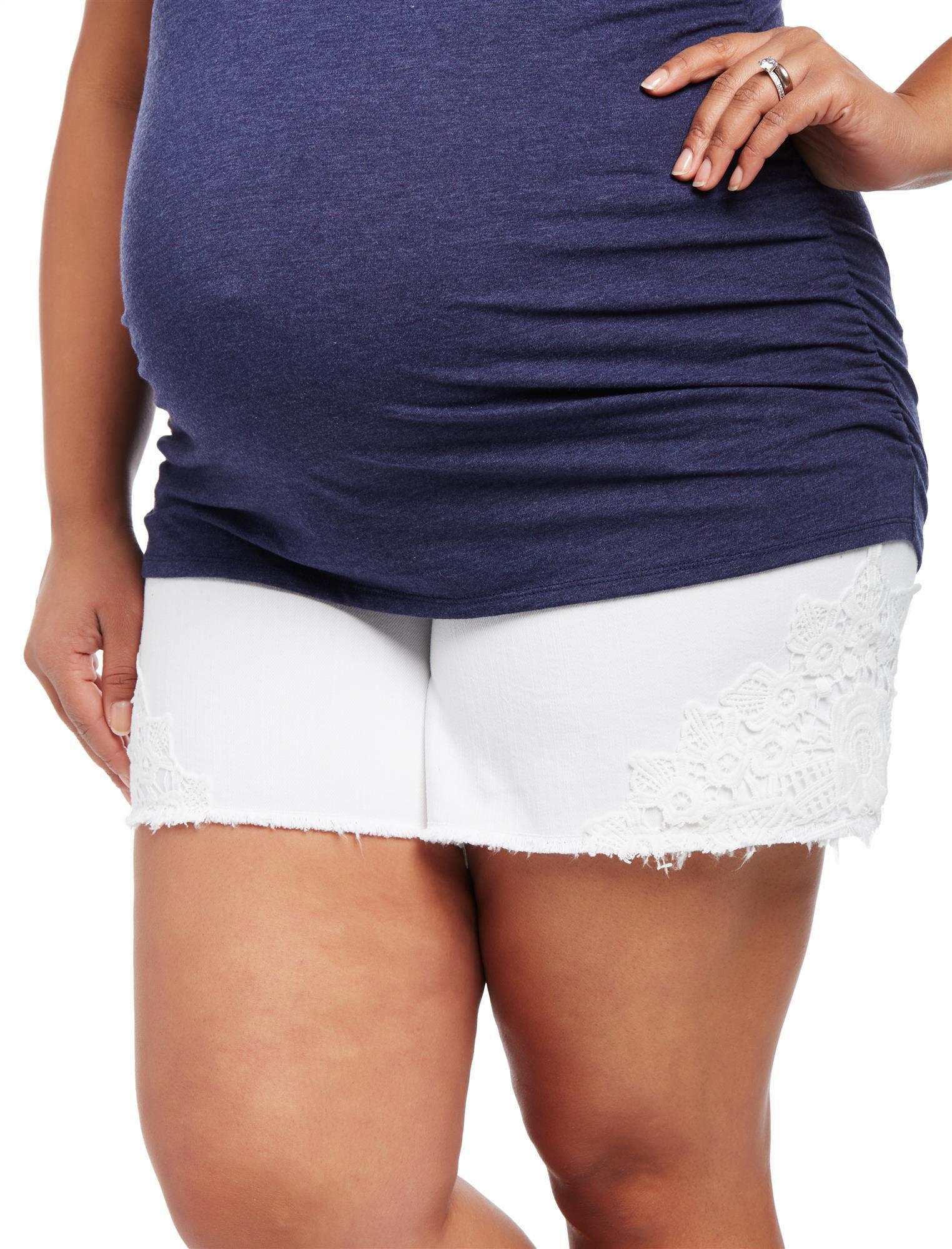 Plus Size Secret Fit Belly Crochet Detail Maternity Shorts