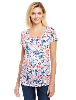 Side Ruched Maternity Tee, Water Clr Floral