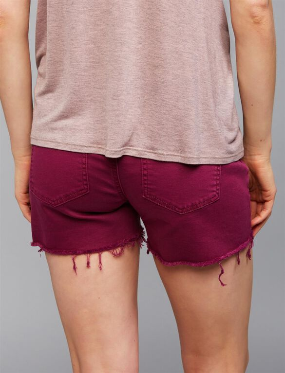 Secret Fit Belly Fray Hem Maternity Shorts, Fuchsia
