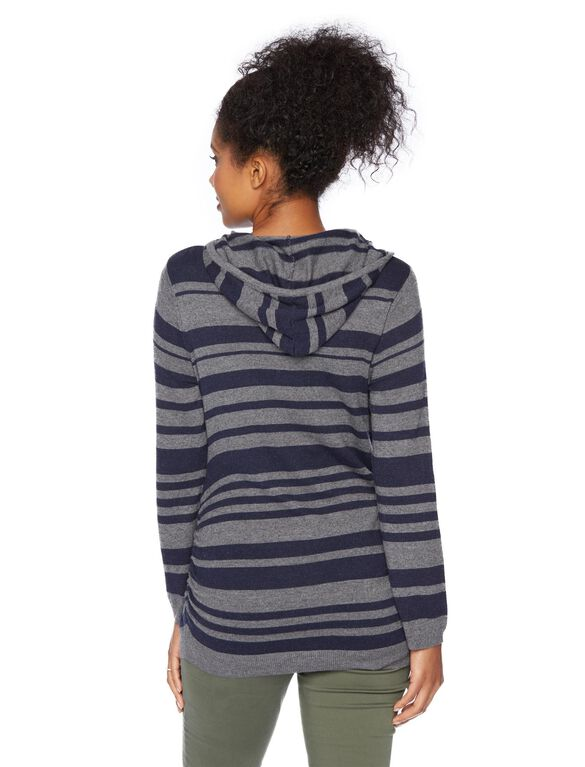 Hooded Pullover Maternity Sweater, Blue/Grey