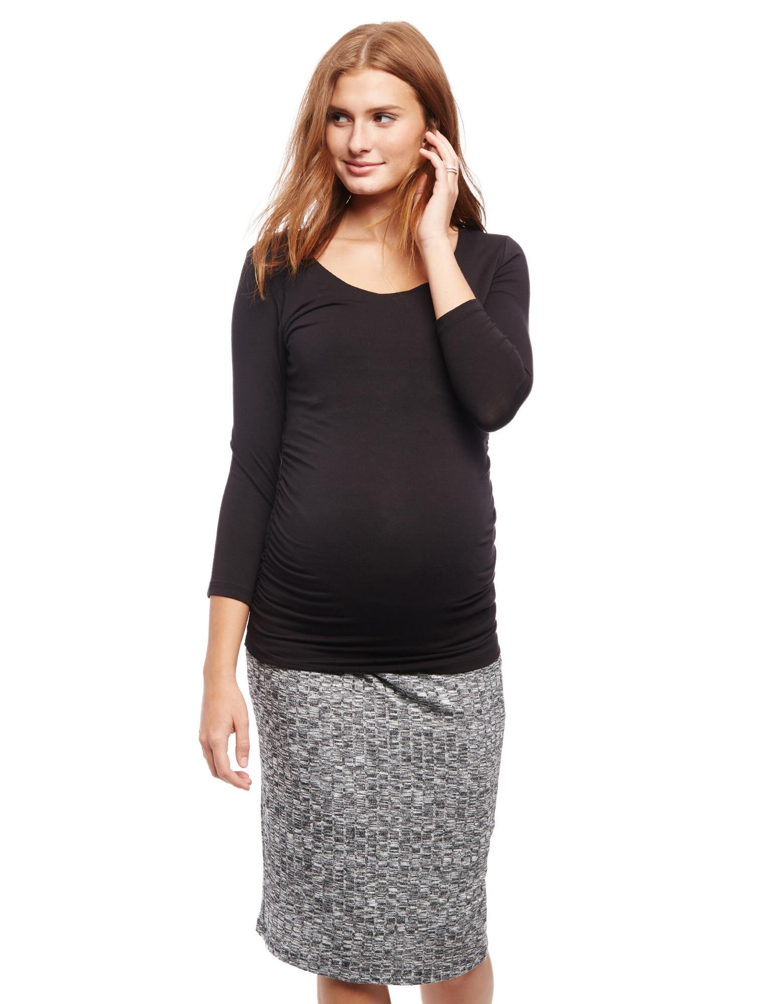 Pull On Style Rib Knit Pencil Maternity Skirt