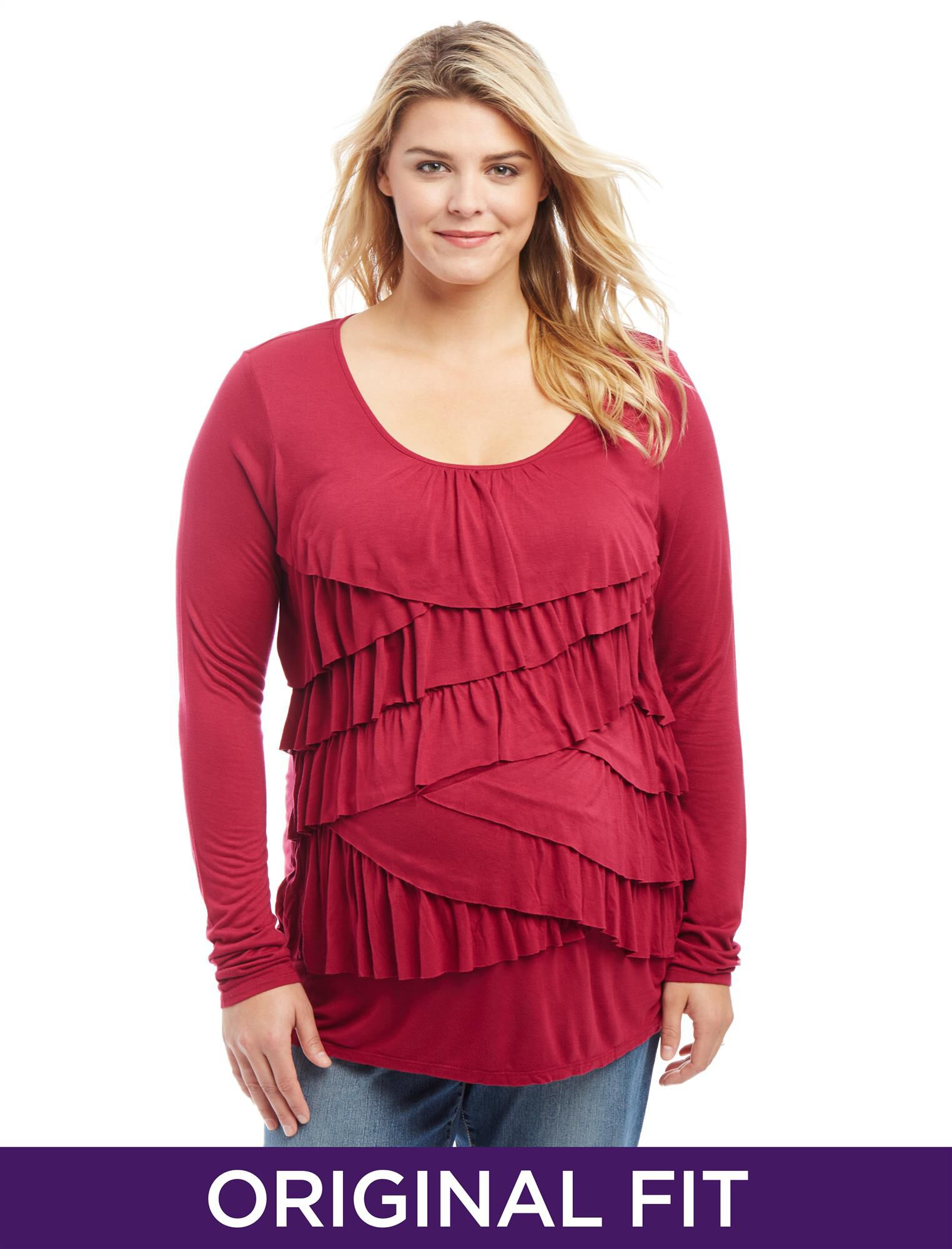 Plus Size Ruffle Front Maternity Top