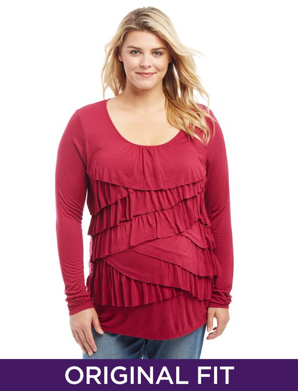 Plus Size Ruffle Front Maternity Top, Wine