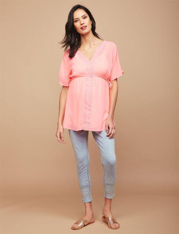 Secret Fit Belly Embellished Maternity Crop Jeans, Light Wash
