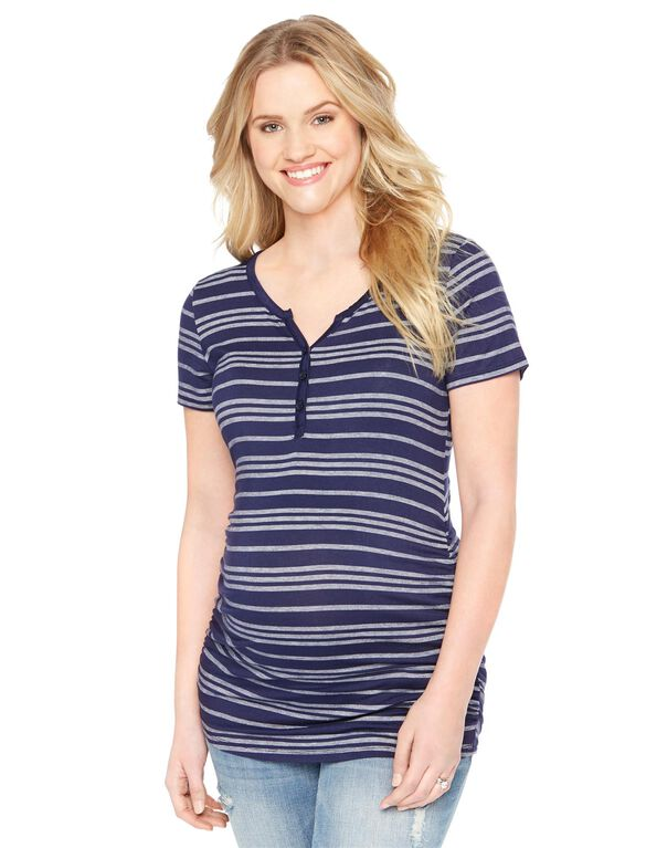 Henley Maternity Tee, Navy/White Stripe