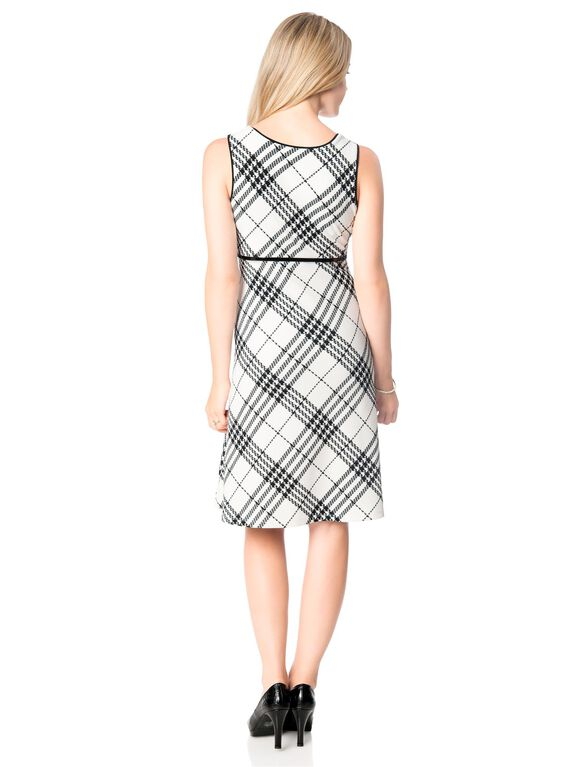 Glen Plaid Belted Maternity Dress, Black/White